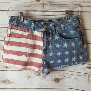 Bullhead American Flag high rise shorts size 26